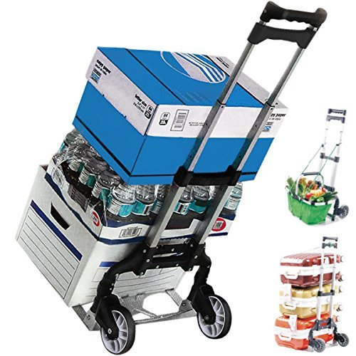 - KSEVEN 155 Lbs Aluminum Light Compact Hand Push Cart, Rustproof Heavy Duty Folding Moving Truck, Ultra Durable Utility Trolley with Solid Wheels, Easy to Use, Collapsible Dolly for Luggage