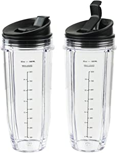 Blender Cups for Ninja Blender, 32OZ Cup with Sip & Seal Lids Compatible with Nutri Ninja Auto IQ Series Blenders BL480 BL481 BL482 BL490 BL640 BL680 BL450 BL482 BL682 BL642 BL640(2 Pack)