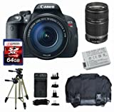 Canon EOS Rebel T5i W/ EF-S 18-135mm f/3.5-5.6 IS STM Lens + Canon EF-S 55-250mm + Battery + Travel Charger + Gadget Bag + Filters + 64GB (10), Best Gadgets