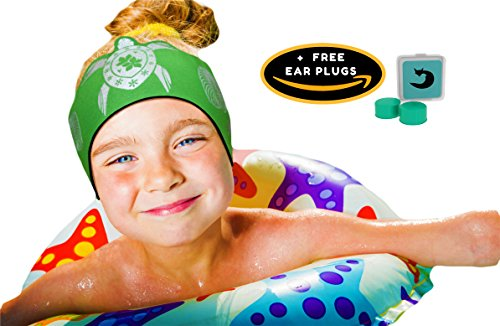KIDS SWIMMING HEADBAND BABIES TODDLERS with FREE Putty Earplugs – RECOMMEND Internationally by ENT Physicians to PREVENT EAR INFECTIONS LARGE RANGE of STYLES AVAILABLE- 1 YR Warranty- By WILL and (Kids Earband)