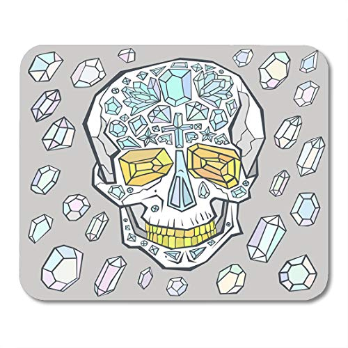 - Boszina Mouse Pads Gray Diamond Encrusted Skull with Golden Teeth and Eye Sockets Colorful Gems are Flying Around White Mouse Pad for notebooks,Desktop Computers mats 9.5