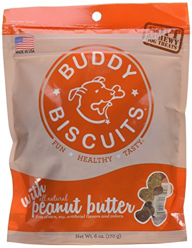 Cloud Star 938073 Soft And Chewy Buddy Biscuits Dog Treats, Peanut Butter, 6-Ounce Pouches (Pack of 4)
