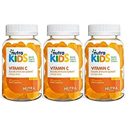Nutra Kids Vitamin C Gummies Bundle - 90 Orange Flavored Gummies - PECTIN BASED - GELATIN FREE - GLUTEN FREE - IMMUNITY SUPPORT