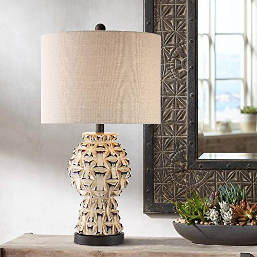 Keanu Ceramic Table Lamp with Bronze Metal Base - 360 Lighting