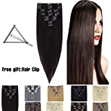 "Human Hair Extensions Clip in 16""-22"" 8pcs Full Head Long Soft Silky Straight Wig"