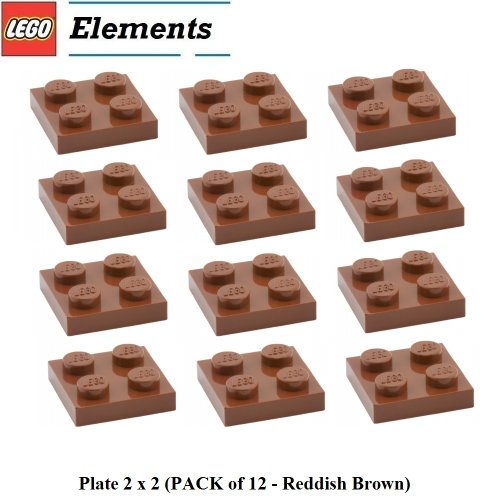 (Lego Parts: Plate 2 x 2 (PACK of 12 - Reddish Brown))