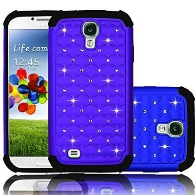 Samsung Galaxy S4 Case Cover, two Layer Slim Fit Hard Case with Rhinestone Crystal Bling Diamond, Shock absorbing Hybrid Rubber Plastic Impact Defender Cell phone case for Galaxy S4 (Blue) (Samsung Galaxy S4 Case 2 Layer)