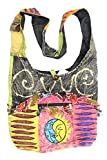 KayJayStyles Sun Moon Hippie Boho Slouch Bag Sling Nepal Cross Body Bag (Gray)