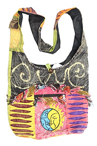 KayJayStyles Sun Moon Hippie Boho Slouch Bag Sling Nepal Cross Body Bag (Bag Hippie Bag)