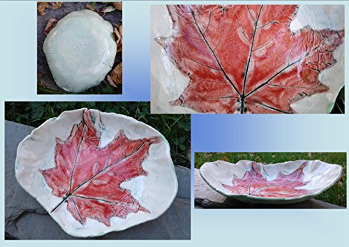 Maple Leaf Dish Ceramic Bowl Spoon Rest Red Leaf Rustic Pottery Plate Candy Dish Ring Bowl Dining ()