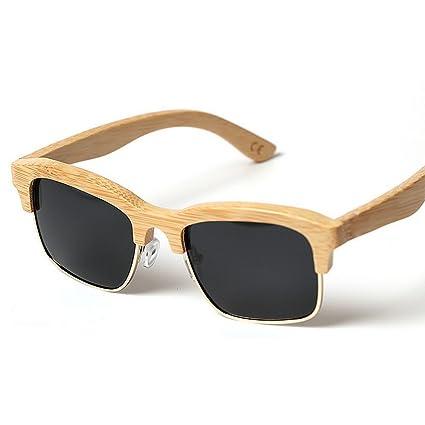 f74a3a240f Ultra ligero para hombre Cool Gafas de sol semi-sin montura de madera para  hombres Gafas ...