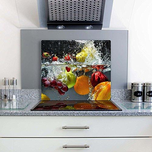 Früchte 1 Glas Abdeckplatte 60x52 Schneidebrett Herdabdeckplatte
