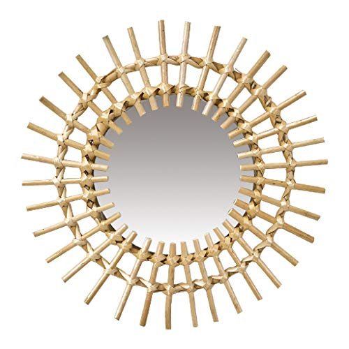 Time Concept Boho Willow Round Wall Mirror - Sunny Design Glass, Mounted Display, Home & Living Room Decor