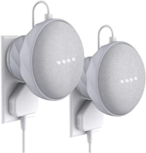 KIWI design Outlet Wall Mount Holder Compatible with Home Mini by Google (1st Gen), A Space-Saving Accessories Case for Home Mini by Google (Gray, 2 Packs)