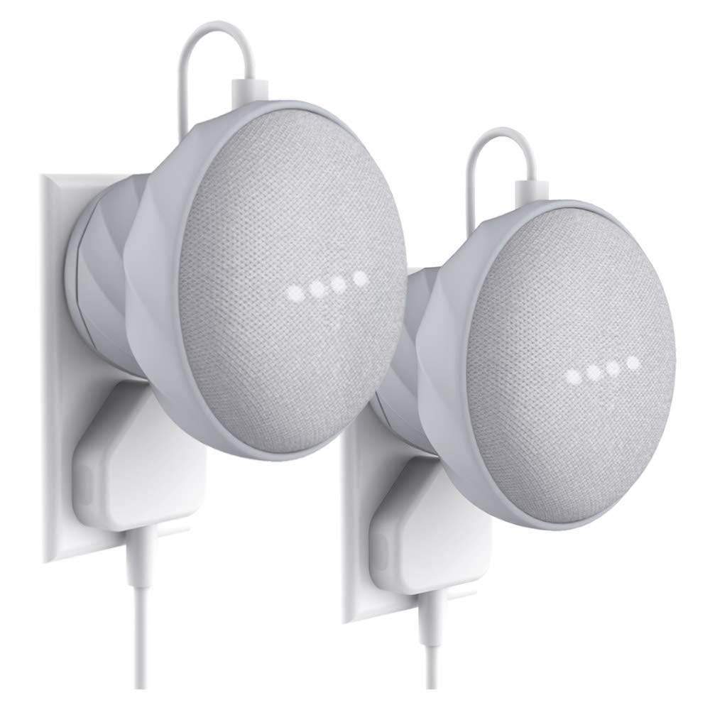 2 Pack Outlet Wall Mount Stand Hanger for Home Mini Voice Assistants by Google, KIWI design Compact Mount Holder Accessories Case Plug in Kitchen Bathroom Bedroom & Hides Home Mini Cord (Gray) KW-G2-GREY2-US