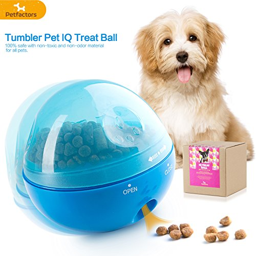 Petfactors Puzzle Treat Ball for Pets, Tumbler Interactive Food Dispensing Ball, Toys for Dogs Cats, Increases IQ and Mental Stimulation (Blue) by Petfactors