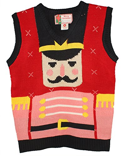 Blue Star Clothing Unisex Ugly Christmas Holiday Pullover V-Neck Knit Vest Sweater Nutcracker Medium