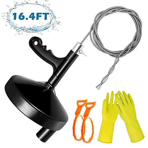 VIBIRIT Drain Snake Drain Clog Remover Tool,16.4 Ft Steel Drum Auger Plumbing Drain Snake for Removing Sink Clog…