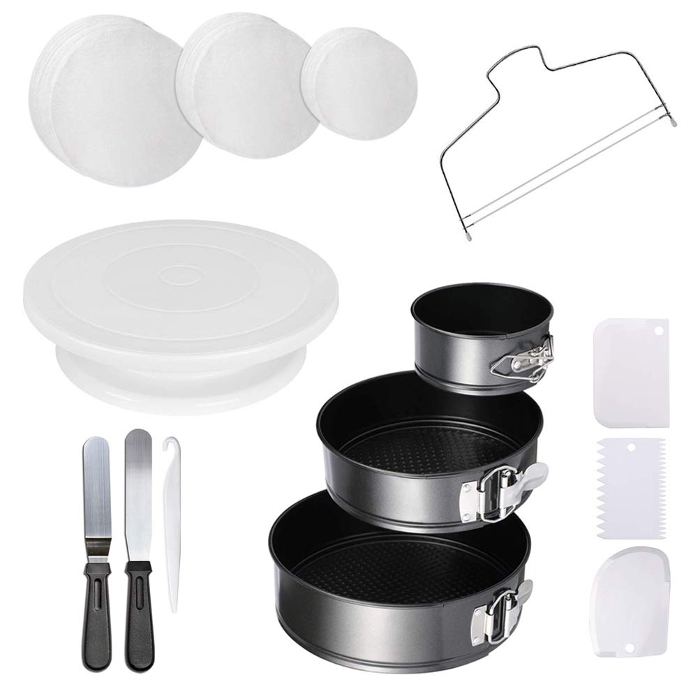 Springform Cake Pans - 4'' 7'' 9'' Non-stick Round Bakeware Cake Pan and 150-piece Parchment Paper Liners (X-Large) by Hanyan