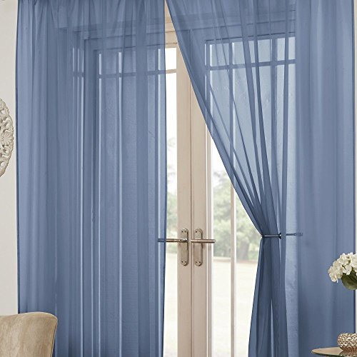 Tony's Textiles Pair of Solid Lucy Window Sheer Panels – Grommet Top – Teal Blue 57″ Wide x 72″ Drop