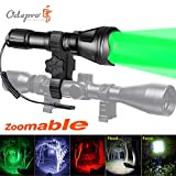 Odepro Zoomable Hunting Flashlight with Red Light Green Light White Light IR850 Light LED Lamps Remote Pressure Switch Hunting Kit for Hog Coyote and Varmint Hunting, Gift Box Packaging