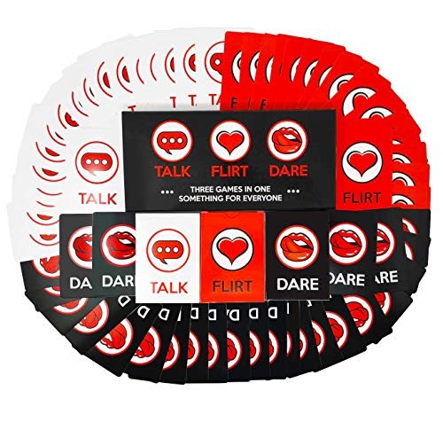 Fun and Romantic Game for Couples: Date Night Box Set with Conversation Starters, Flirty Games and Cool Dares - Choose from Talk, Flirt or Dare Cards for 3 Games in 1 - Great Gift For Him or Her! -