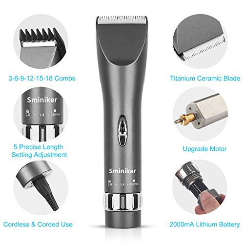Sminiker Professional Cordless Haircut Kit Rechargeable Hair Clippers Set with 2 Batteries, 6 Comb, Guides and Scissors - Grey by Sminiker Professional (Image #7)