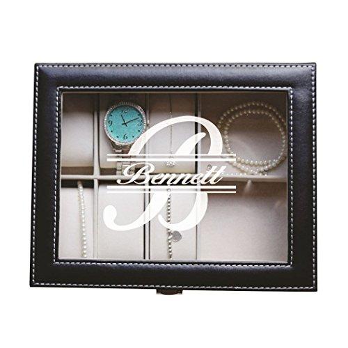 Custom Personalized Black Jewelry Box for Women, Girls, Daughter - Classic Monogram Design