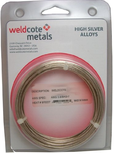 "WELDCOTE METALS 50 N Silver Solder 1/16"" Diameter Cadmium..."