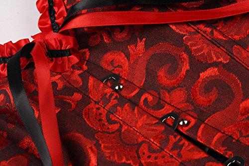 E-SHINE CO De las mujeres del cors¨¦ del chaleco con las tazas m¨¢s el tama?o Busiter S-6XL Rojo&Negro