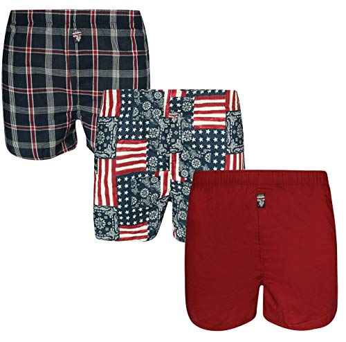 's Woven Boxer Underwear with Functional Fly (3 Pack), Blue Plaid/Red/Print, Large' ()
