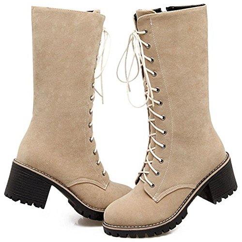 Heel TAOFFEN Western Knight Women Boots Martin Zipper Boots Block Beige qrrtxH