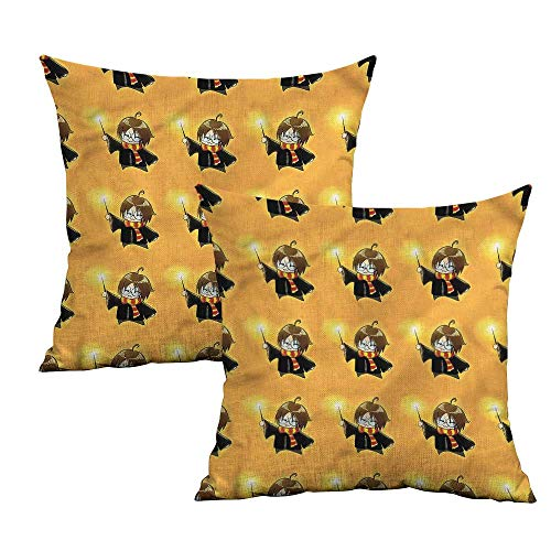 Khaki home Wizard Square Pillowcase Covers with Zipper Cartoon Costume and Wand Square Standard Pillowcase Cushion Cases Pillowcases for Sofa Bedroom Car W 18