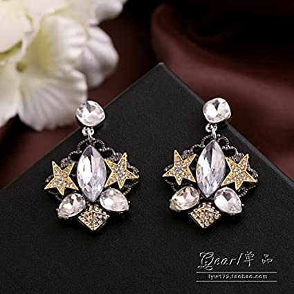 Amazon.com  TKHNE Foreign trade real shot in Europe and America do old  retro gem diamond star earrings earrings earrings women girls personality  atmosphere  ... 15ac63bac2