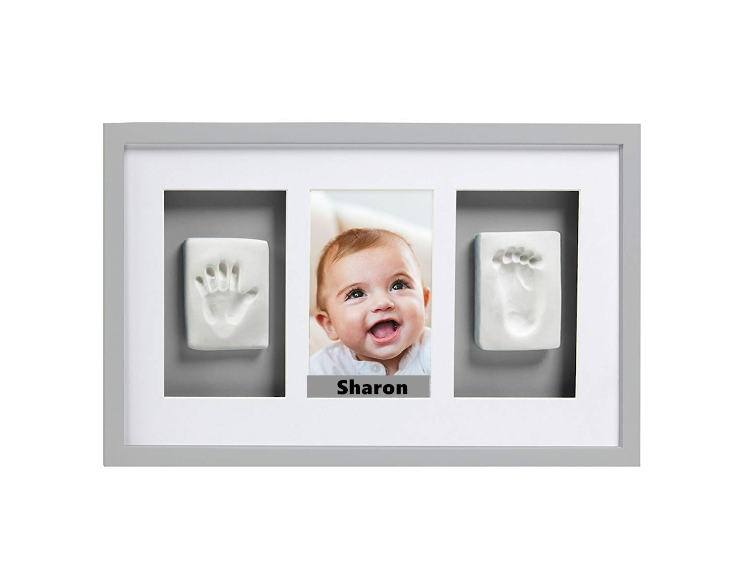 Babyprints Newborn Baby Handprint and Footprint Deluxe Wall Photo Frame with Name Card,The Perfect Mother's Day Gift for Any New Mum