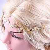 Nesee Beautiful Bronzing Leaves Women Headband Elastics For Girl Hair Head Band (Gold)