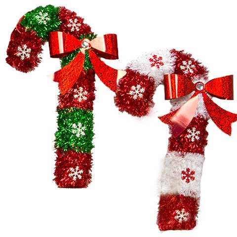 Christmas House Tinsel Candy Cane Decorations, 15 in. (Set of 2)