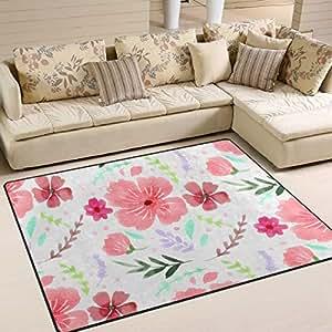Amazon.com : FANTAZIO Floor Mats Pink Hand Drawing Flowers