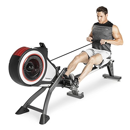 Marcy Foldable Turbine Rowing Machine Rower with 8 Resistance Setting and Transport Wheels NS 6050RE