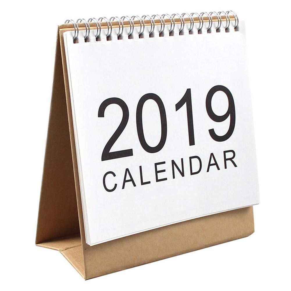 LyhomeO Calendario da Tavolo Luglio 2018 - Dicembre 2019 Calendario Planner Calendario a Fogli mobili da scrivania Pianificatore da Tavolo Stand Up Office