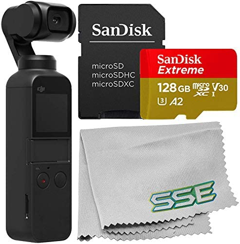 DJI 2019 Osmo Pocket Gimbal with SanDisk Extreme 128GB microSDXC Memory Card Bundle