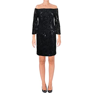 c24e407cd5 Image Unavailable. Image not available for. Color  Ralph Lauren Womens Off  The Shoulder A-line Dress Black 14