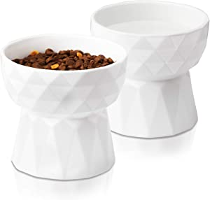 Frewinky Cat Bowls,Ceramic Cat Bowls Anti Vomiting,Raised-Cat Food and Water Bowl Set for Cats and Small Dogs,13.5 Oz