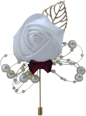 juqilu Wedding Silk Rose Boutonniere Corsage Pin Spilla