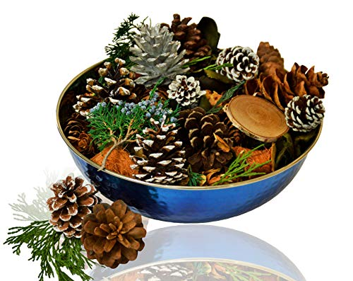 Manu Home Holiday Pine Potpourri in a Beautiful Stainless Steel Blue Bowl ~A Clean Scent of Fresh Forest Pine Potpourri with Fresh Evergreen, Juniper and Mint ~ Ready to Display or Gift~