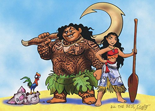 Disney Moana Maui Heihei Pua Signed Autograph Tribute 8.5x11 Print With COA from PJ's Collectibles