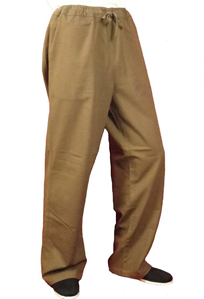100% Cotton Brown Kung Fu Martial Arts Taichi Pants Trousers XS-XL Tailor Made Interact China