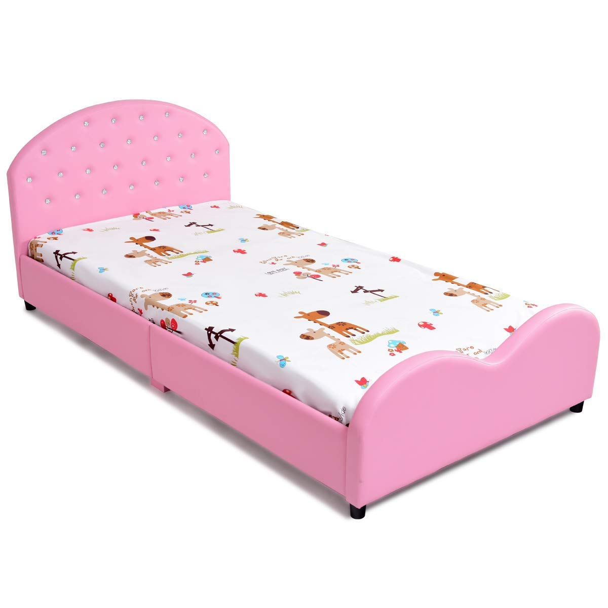 Costzon Kids Bed, Upholstered Platform, Wood Bedframe, Sleeping Bedroom Furniture, Perfect for Teens & Boys, Blue