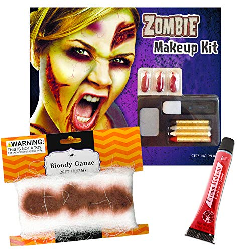 Bloody Bandages Halloween (Halloween Bloody Bandages and Wounds Set -- Bloody Gauze Wrap Bandage, Fake Blood and Makeup (Halloween Bloody Costume)