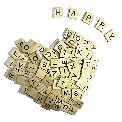 (100 Wood Scrabble Tiles New Scrabble Letters for Crafts Pendants Spelling DIY)
